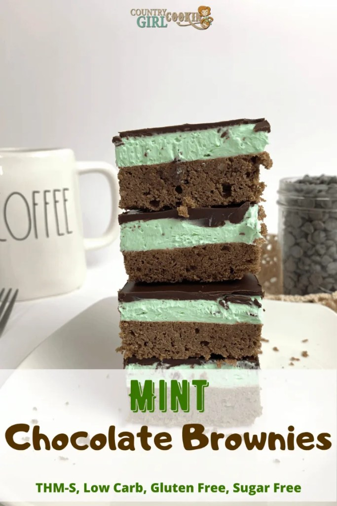 Mint Chocolate Brownies (THM-S, Low Carb, Gluten Free, Sugar Free)