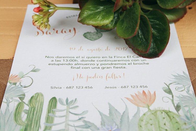 Invitación de boda cactus