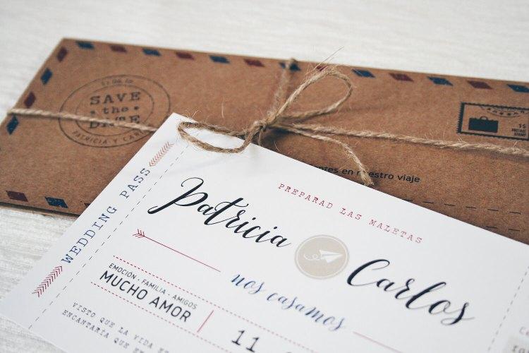 invitación viajera personalizada tarjeta de embarque