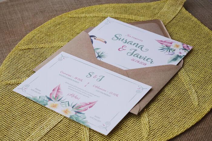 invitaciones de boda tropical