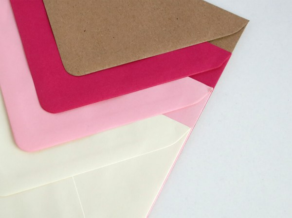 Sobres para bodas y eventos, kraft, rosa fucsia, rosa claro y crema