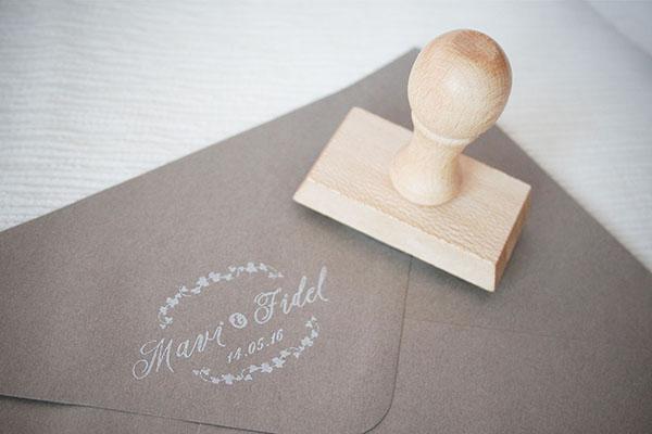 sello de boda clásica hiedra