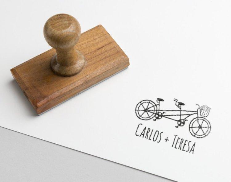 Sello personalizado bicicleta tandem