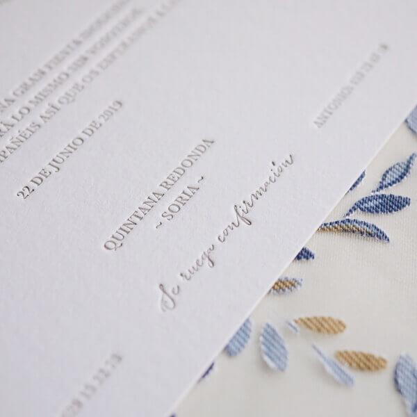 Invitación clásica letterpress