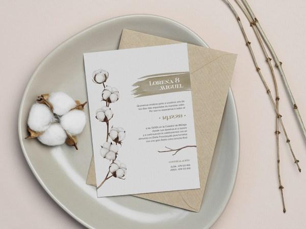 Invitación de boda invierno algodón