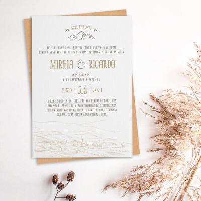 Invitación de boda rústica campestre pueblo