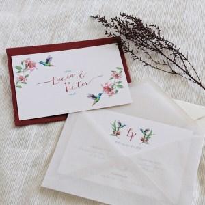 Invitación de boda clásica colibrí