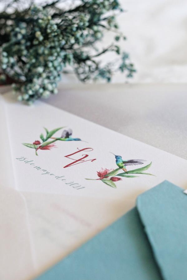 Invitación de boda campestre colibrí iniciales