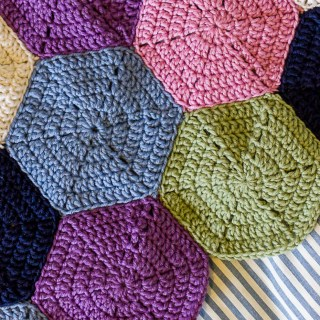 A Hexagon Rug and My Trick For Blocking Crochet Hexagons