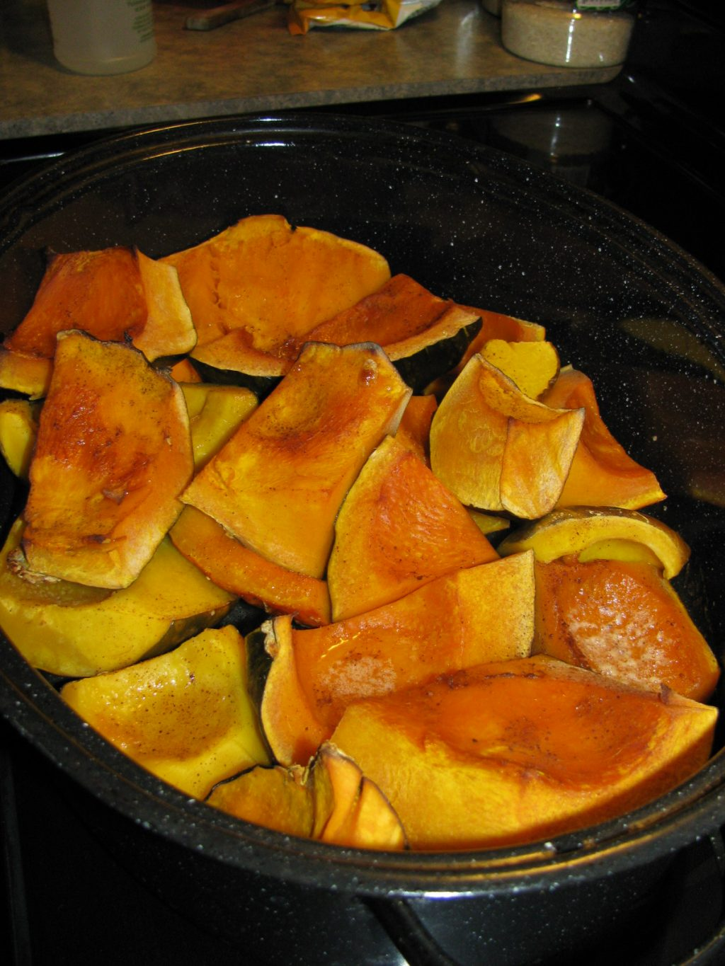 large chunks of pumpkin right out of the oven