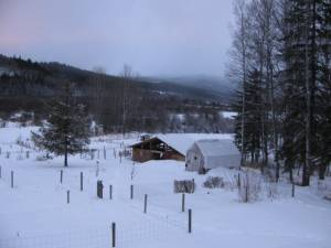 country living in a cariboo valley, valley, winter in the Cariboo