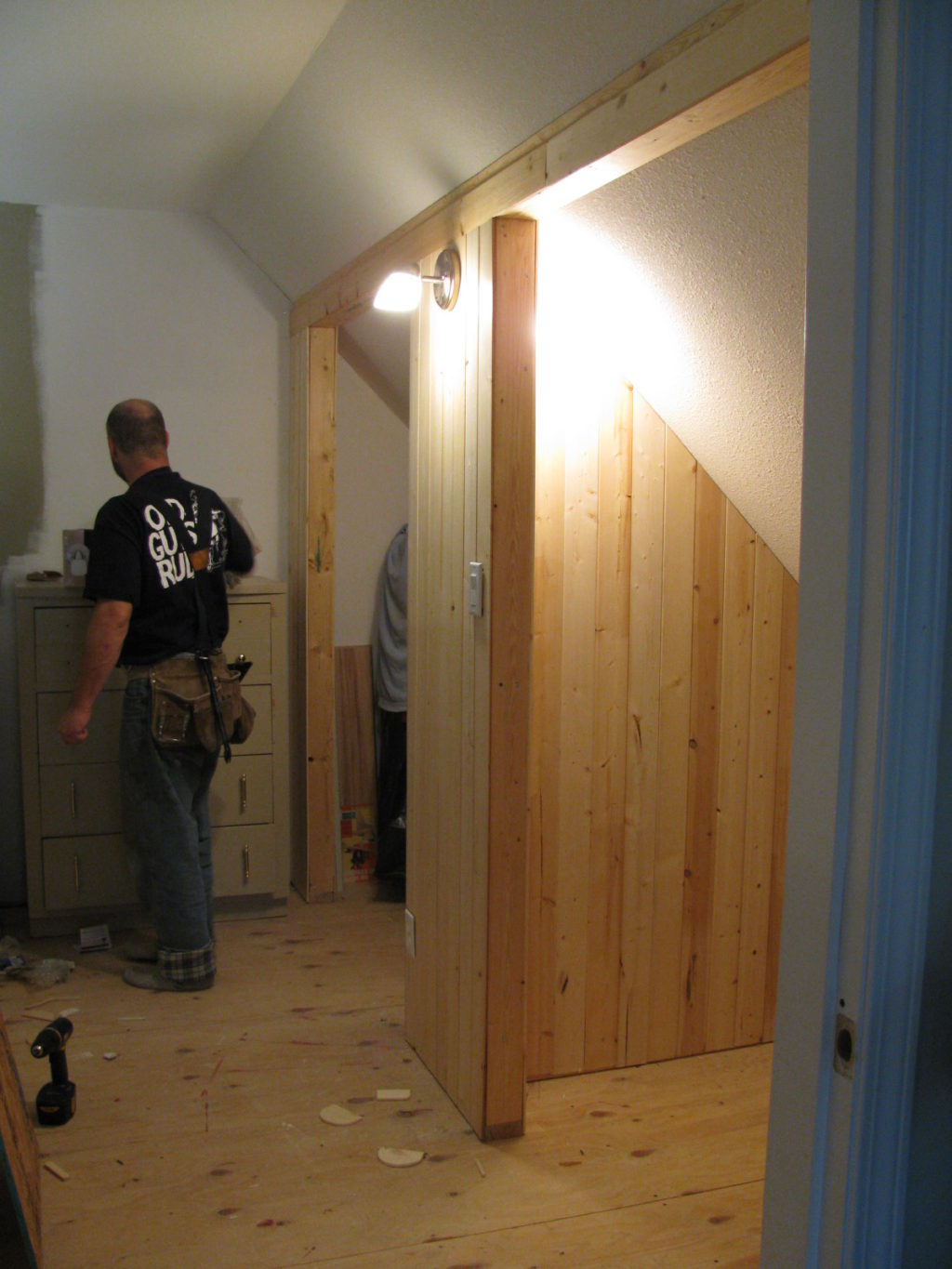 pine wood, build a closet, house renovation