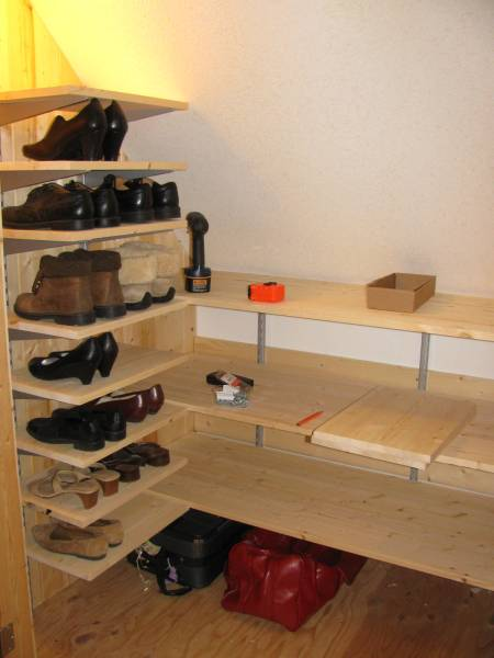 Shoe and accessories shelves in closet