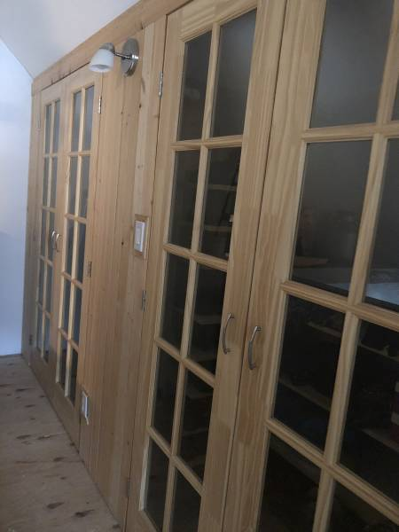 wood doors with glass panes for the loft closet