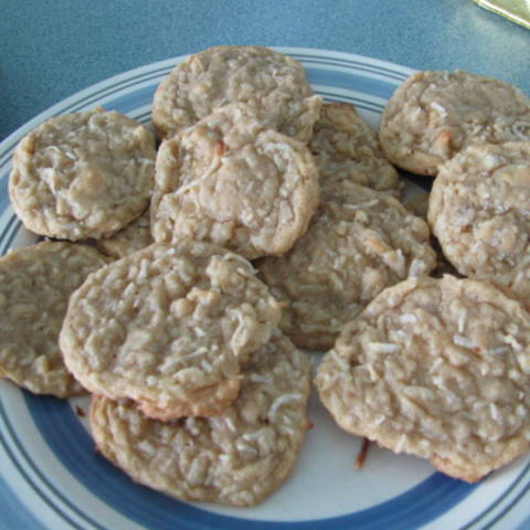 coconut cookies sitting on a plate