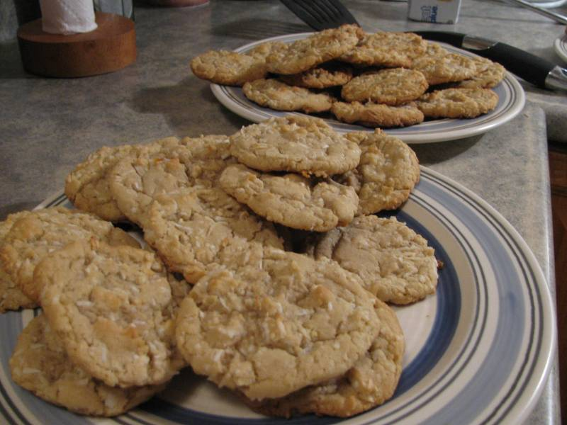 Baked coconut cookies sitting on plates.