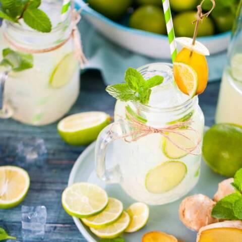 freshly made lemonade in a glass