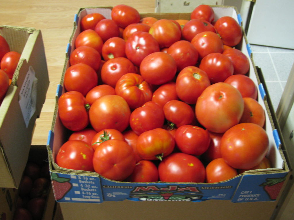 Beefsteak tomatoes in boxes