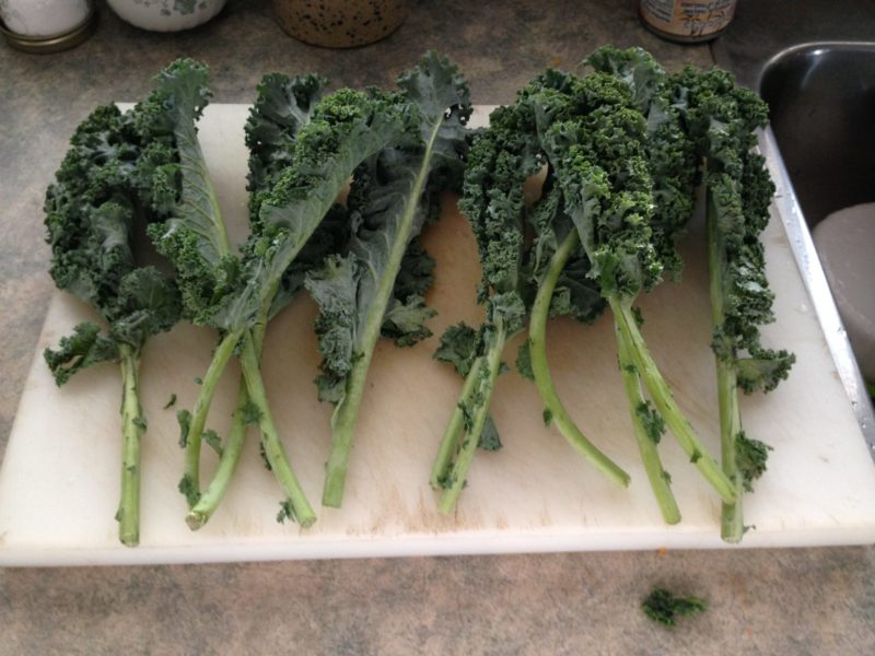 Separated kale stems lying on a cutting board.