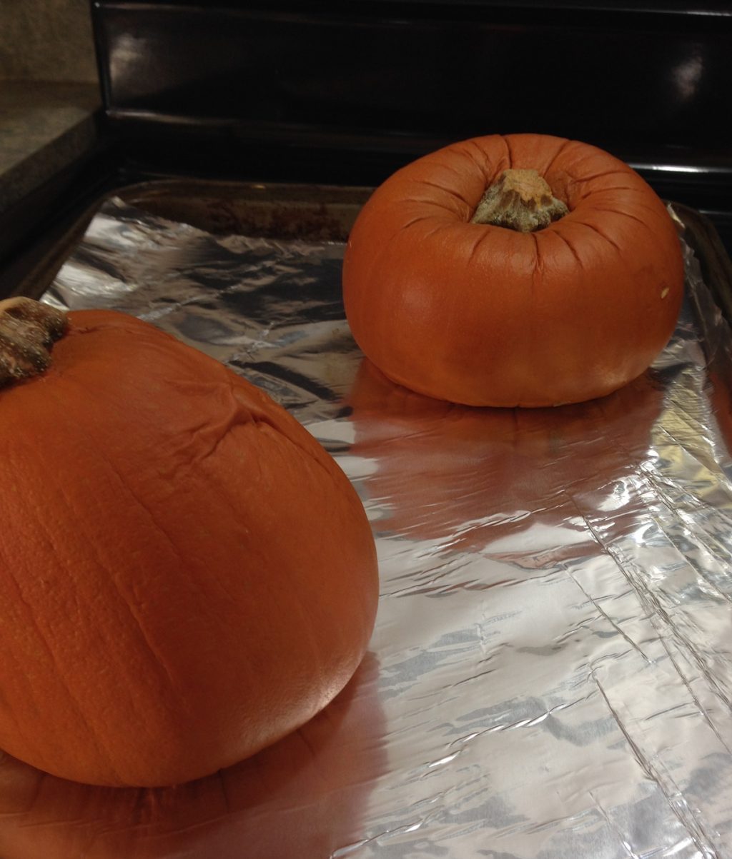 baked pumpkin sits on the stove