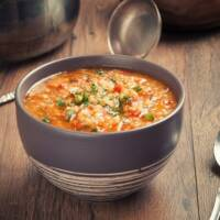 Lentil soup in a bowl ready to eat