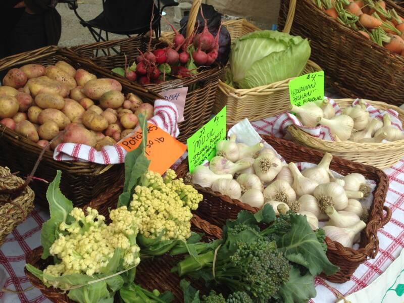 vegetables in baskets at market