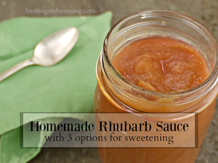 rhubarb sauce in a jar