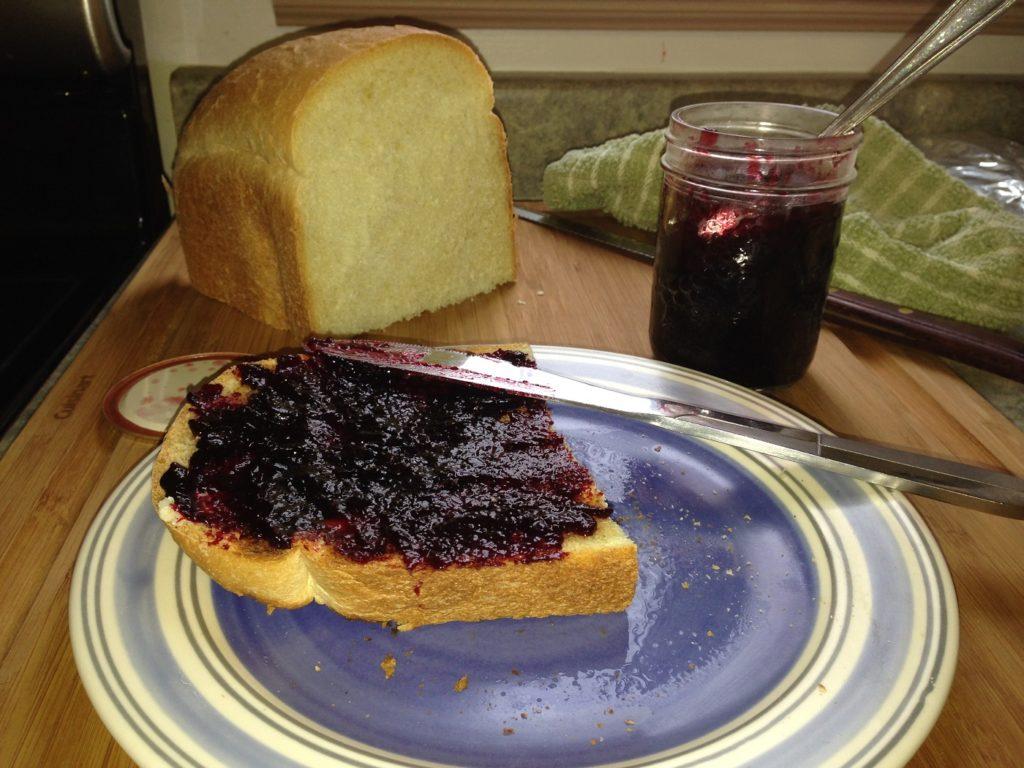 Raspberry jam on toast for breakfast