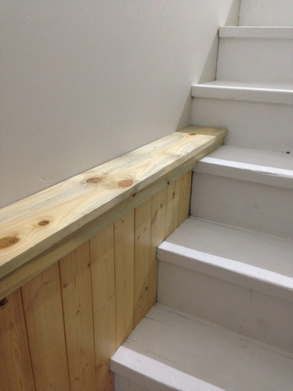 a stair landing renovation after it's finished