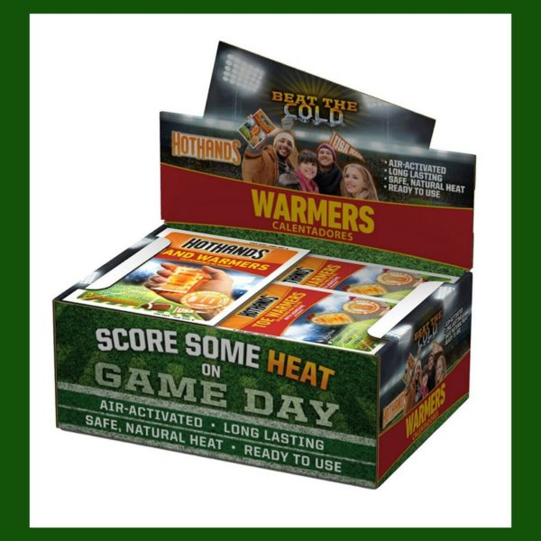A box of hand warmers to use in cold weather