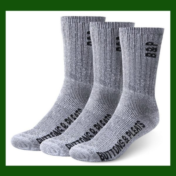 Heavy wool work socks help in cold winter temperatures