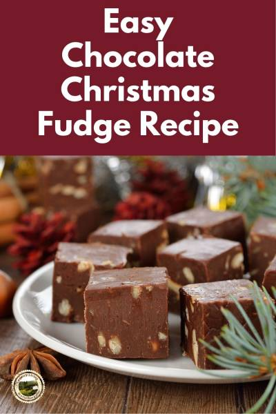 slices of fudge sit on a christmas plate