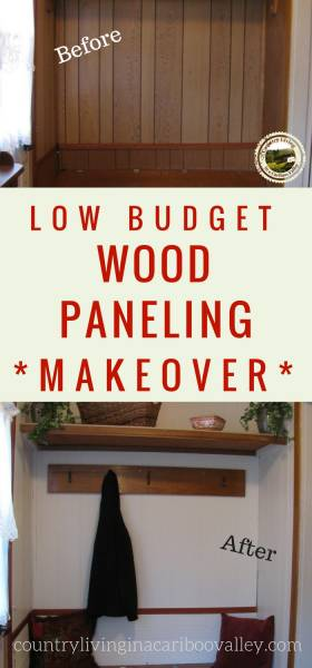 Got ugly grooved wood paneling? Here's an easy cheap fix! #renovation #woodpaneling #frugalfix