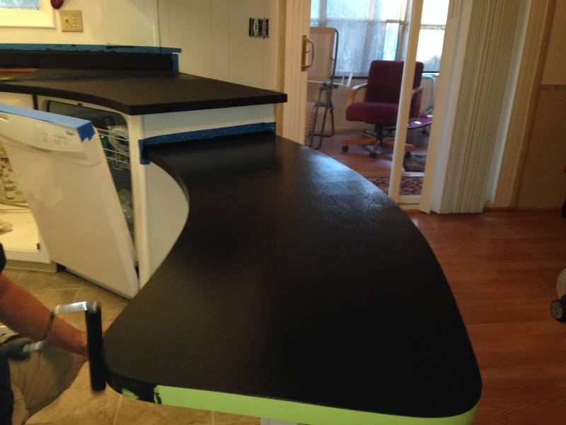 black primer rolled on with giani countertop paint kit