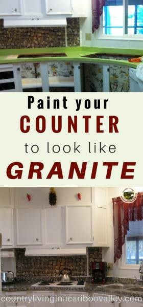 Painting formica countertops to look like granite a before and after photo