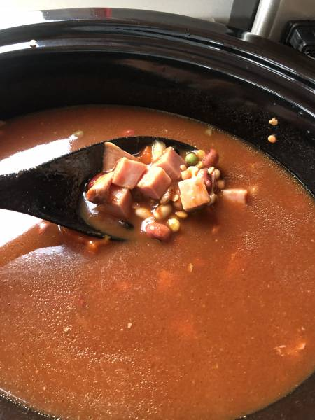 soup cooking in a crockpot