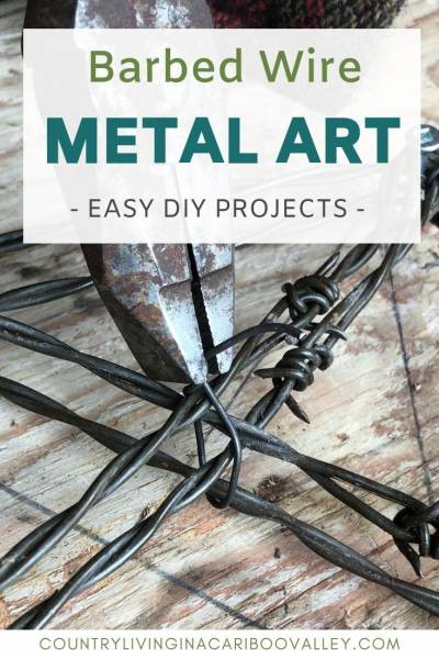 Old barbed wire makes cool metal art pieces. Create anything from rusted barb wire. A great idea for selling at farmers markets and craft fairs. #countrydecor #farmhouse #crafts #diyprojects