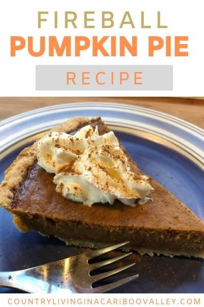 A slice of freshly baked Fireball Pumpkin Pie sits on a dessert plate.