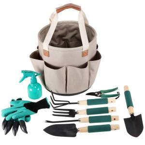 gardening tote basket surrounded by hand tools and garden gloves