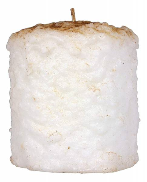 A large marshmallow looking candle