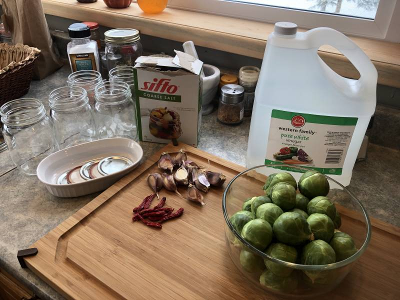 ingredients set out to make Pickled Brussels Sprouts
