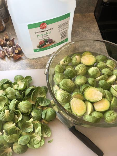 Cut Brussel Sprouts sitting in salted water.