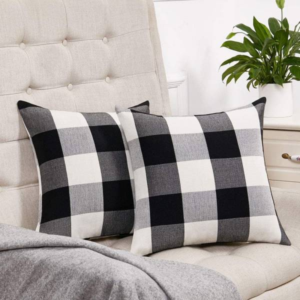 Blacked Checked Throw Pillows