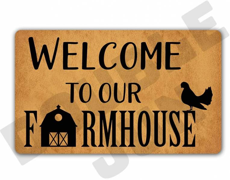 a doormat stating Welcome to our Farmhouse