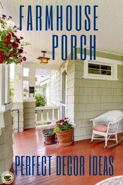 a rocker on a farmhouse porch decorated country style