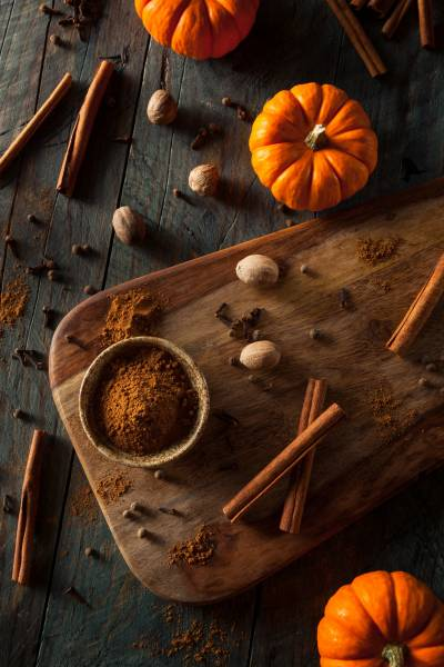 pumpkins and spice on counter