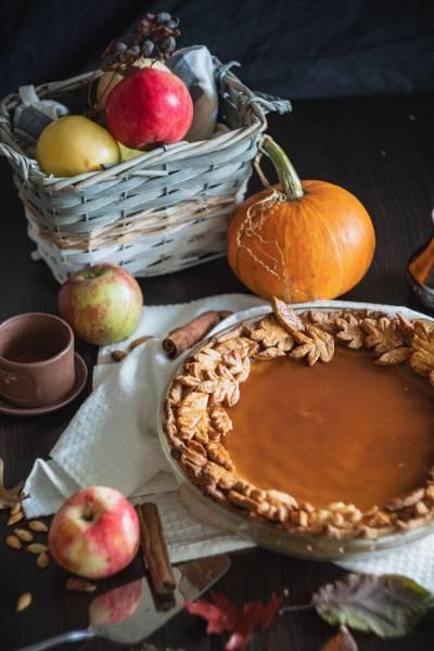 pumpkin pie on a counter