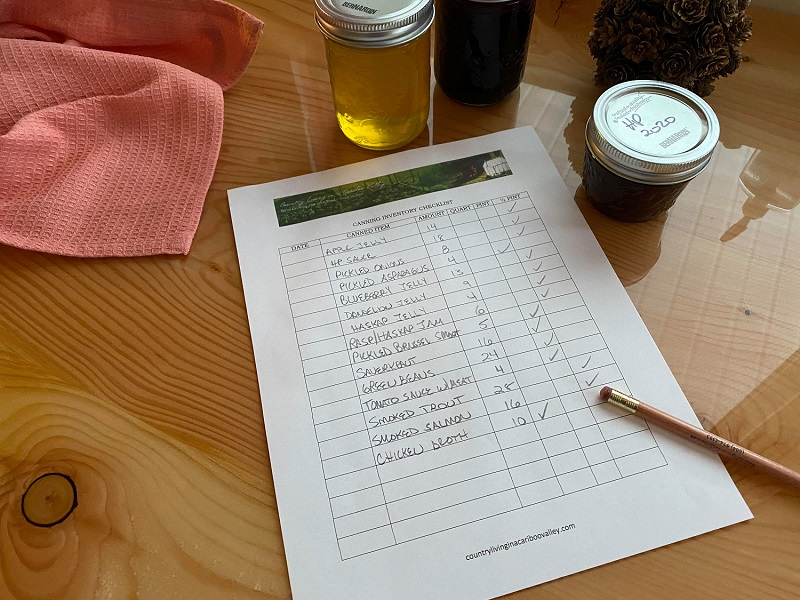 printed Canning checklist to keep track of home canned food