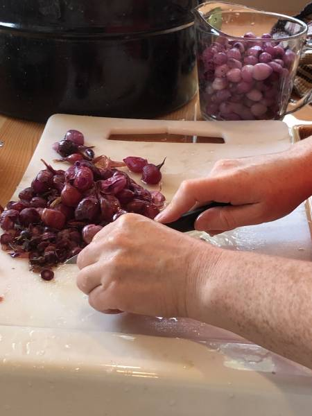 slipping skins off pearl onions