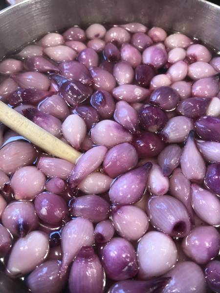 pear onions being heated for pickling